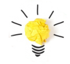 Boule papier idee post it ampoule detouree